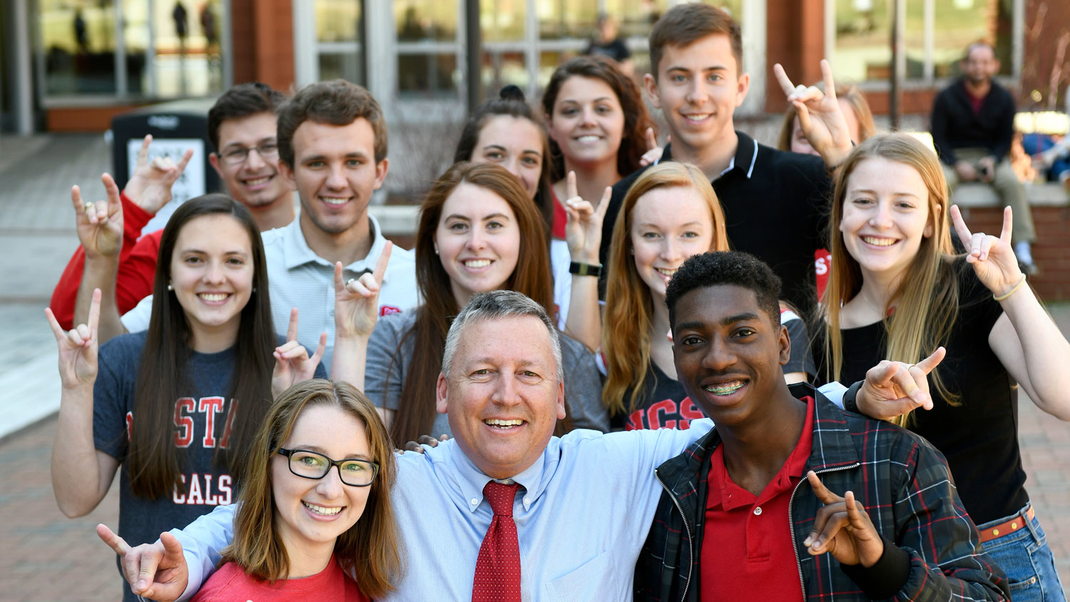 NC State CALS Dean Richard Linton with a group of students.