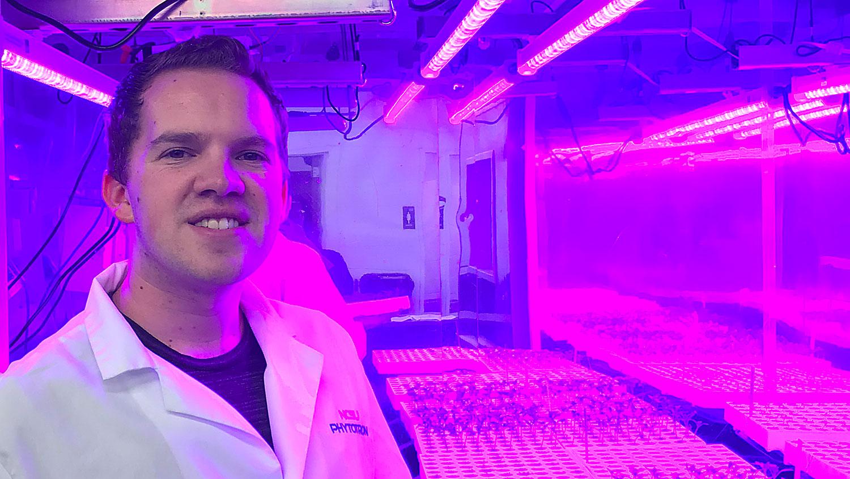 Brandon Huber, Ph.D. controlled environmental horticulture student under the direction of Ricardo Hernandez, Ph.D.