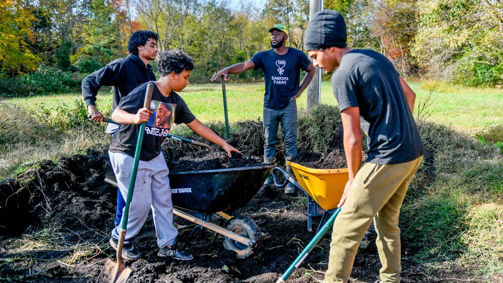 Young men digging and filling a wheelbarrow