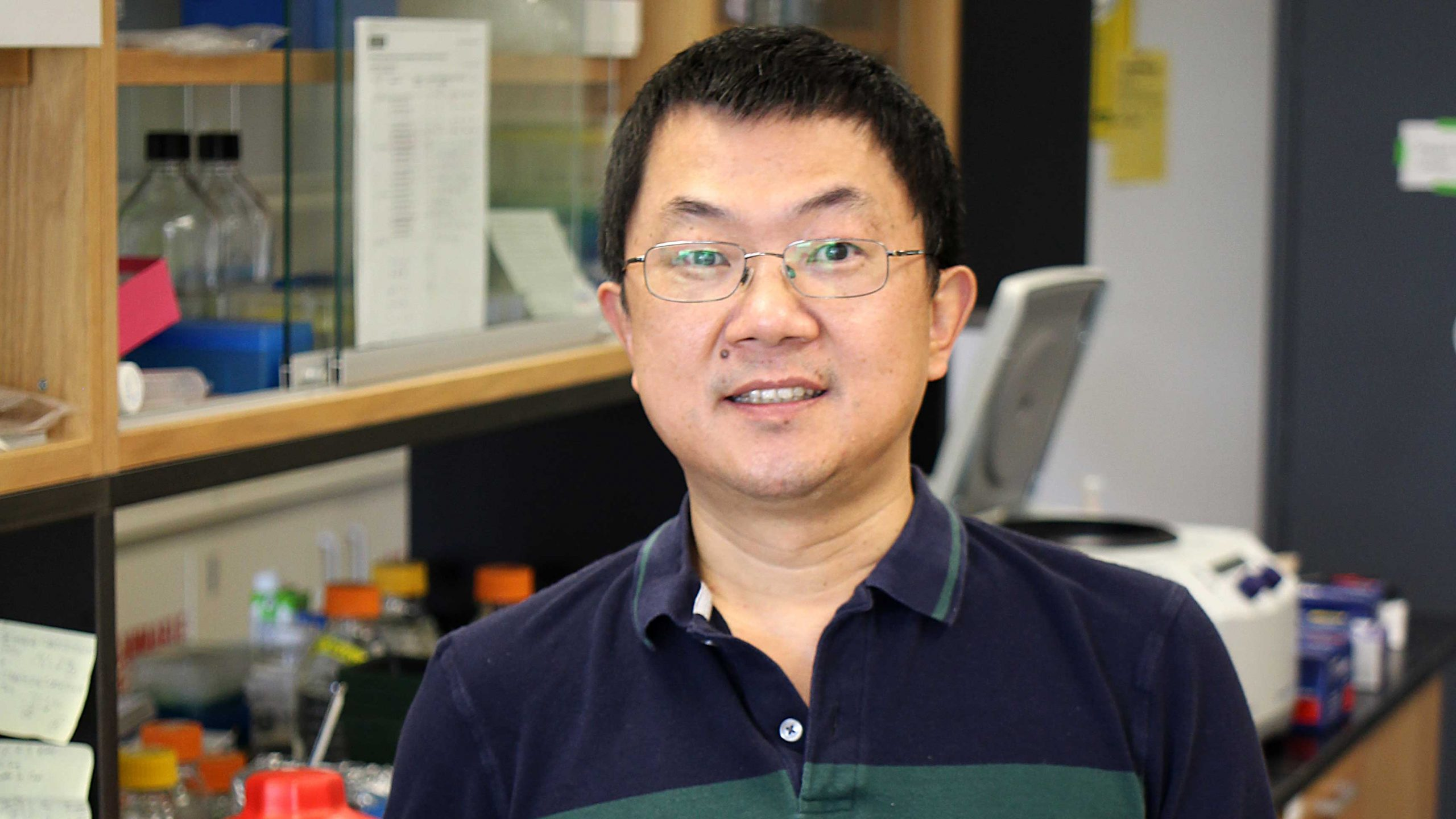 Dr. Wusheng Liu in his lab