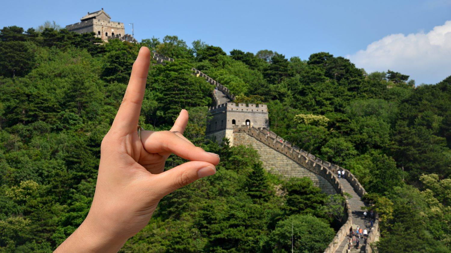 Student's giving the Wolfpack sign at the Great Wall of China