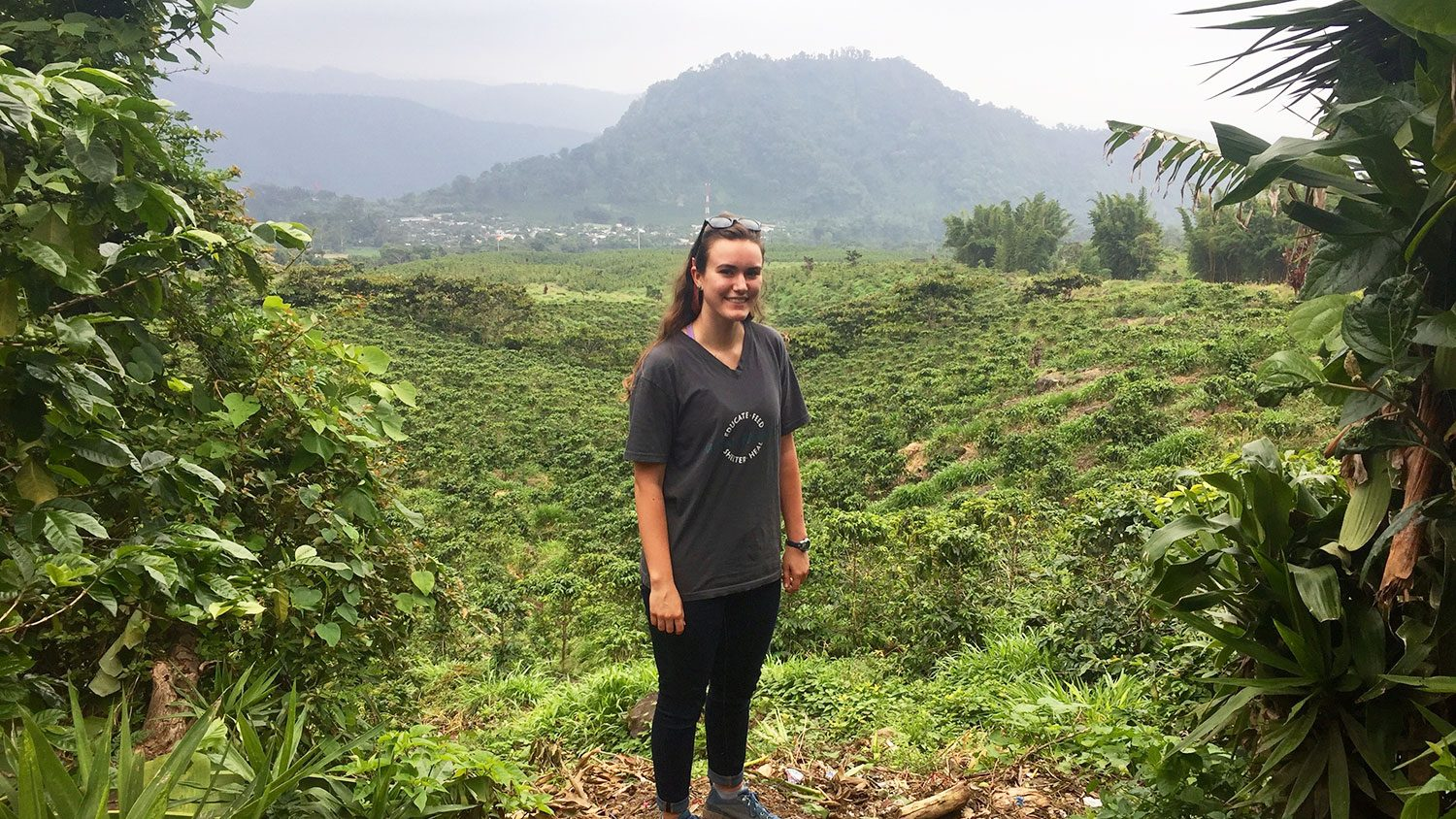 CALS student Kati Scruggs standing in the Guatemalan landscape