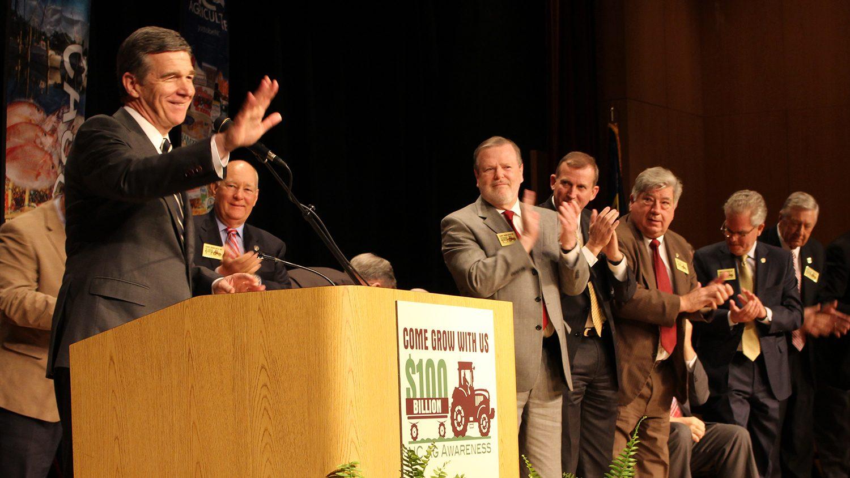 Gov. Roy Cooper at Ag Awareness Day podium.