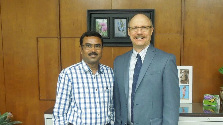 Dr. Srinivasappa with Dr. Wayne Buhler, department head, Department of Horticulture.