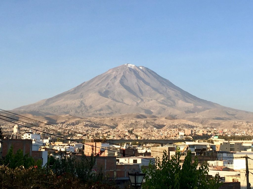 The volcano Misti in the background of the city of Arequipa.