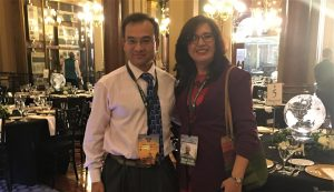 Borlaug Fellow Dr. Maria Elena Cazar and Dr. Deyu Xie from the department of Plant and Microbial Biology, NC State, smile together at the World Food Prize in Iowa