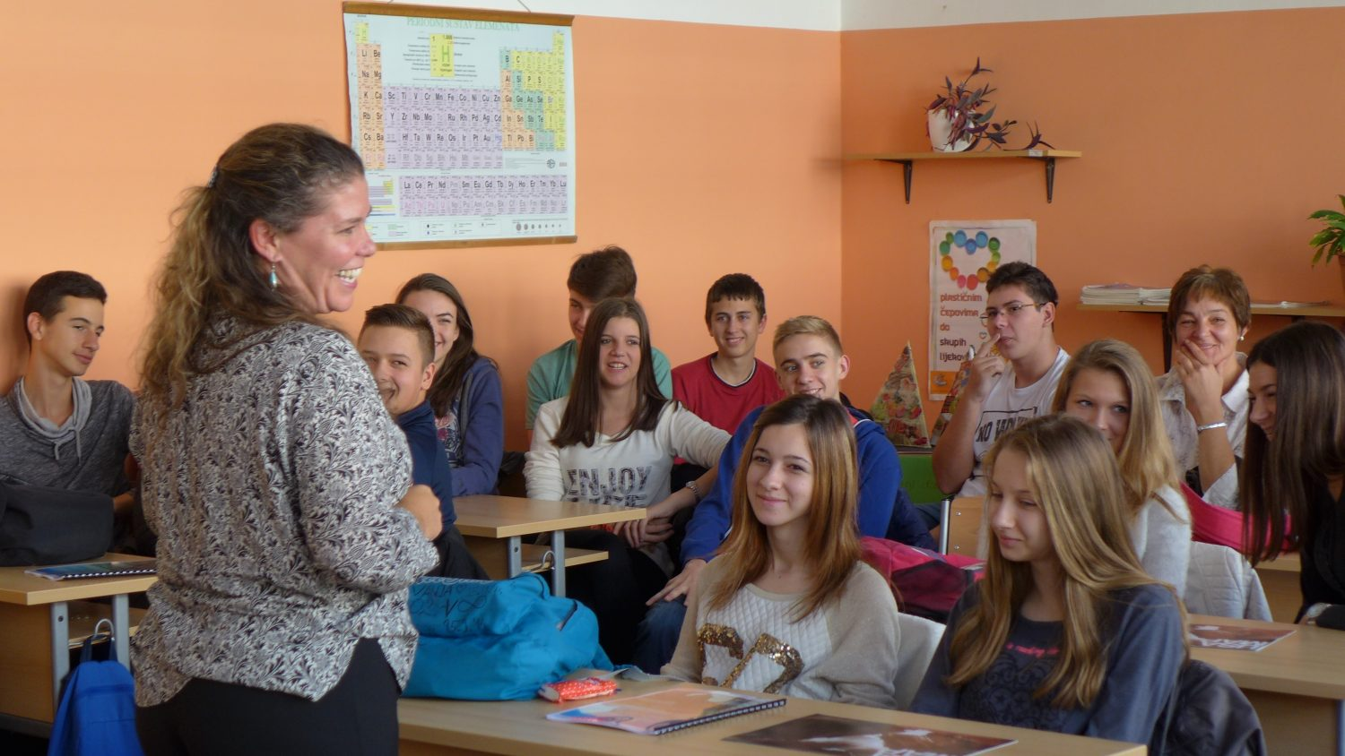Michelle Schroeder-Moreno with classroom students in Croatia during Fulbright Scholar Program