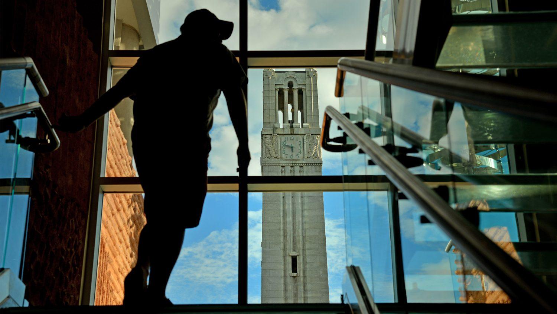 Belltower as seen through the stairwell window at the aloft hotel on Hillsborough Street.