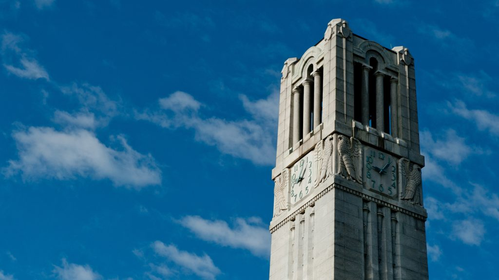 Blue sky and NC State Bell Tower