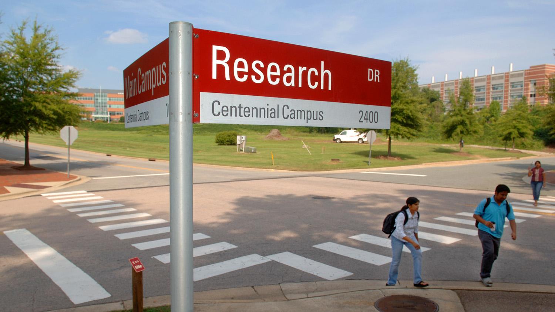 road sign at centennial campus