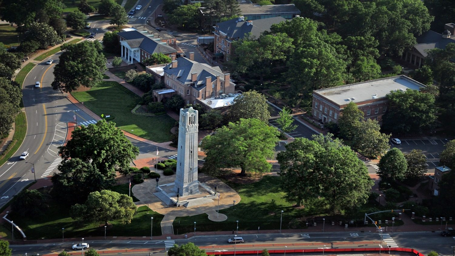 Drone photo of NC State Belltower