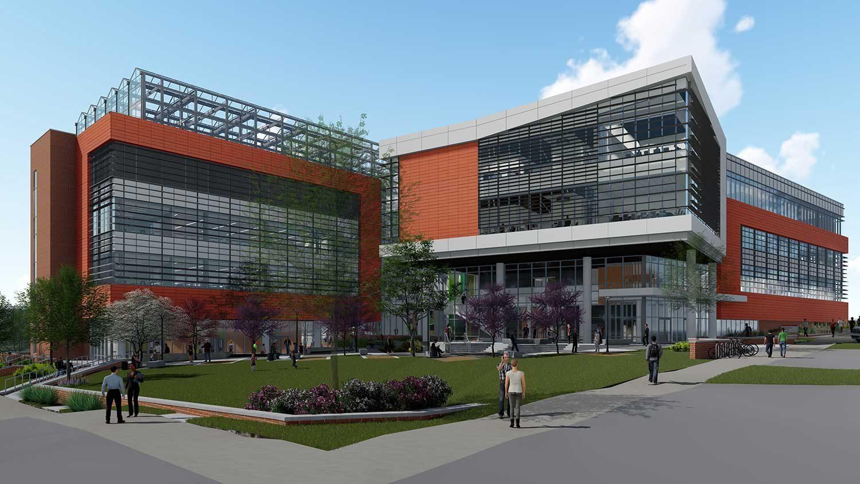 Rendering of under construction plant sciences building