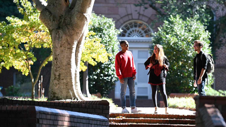 Three students on campus.