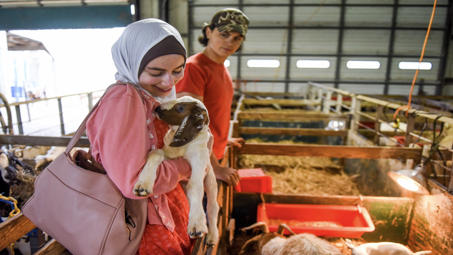 Woman wearing a hijab cuddling a baby goat in her arms