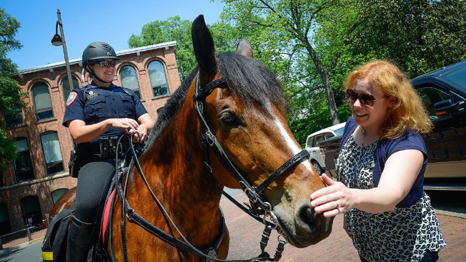 Visitor on campus petting a campus police horse.