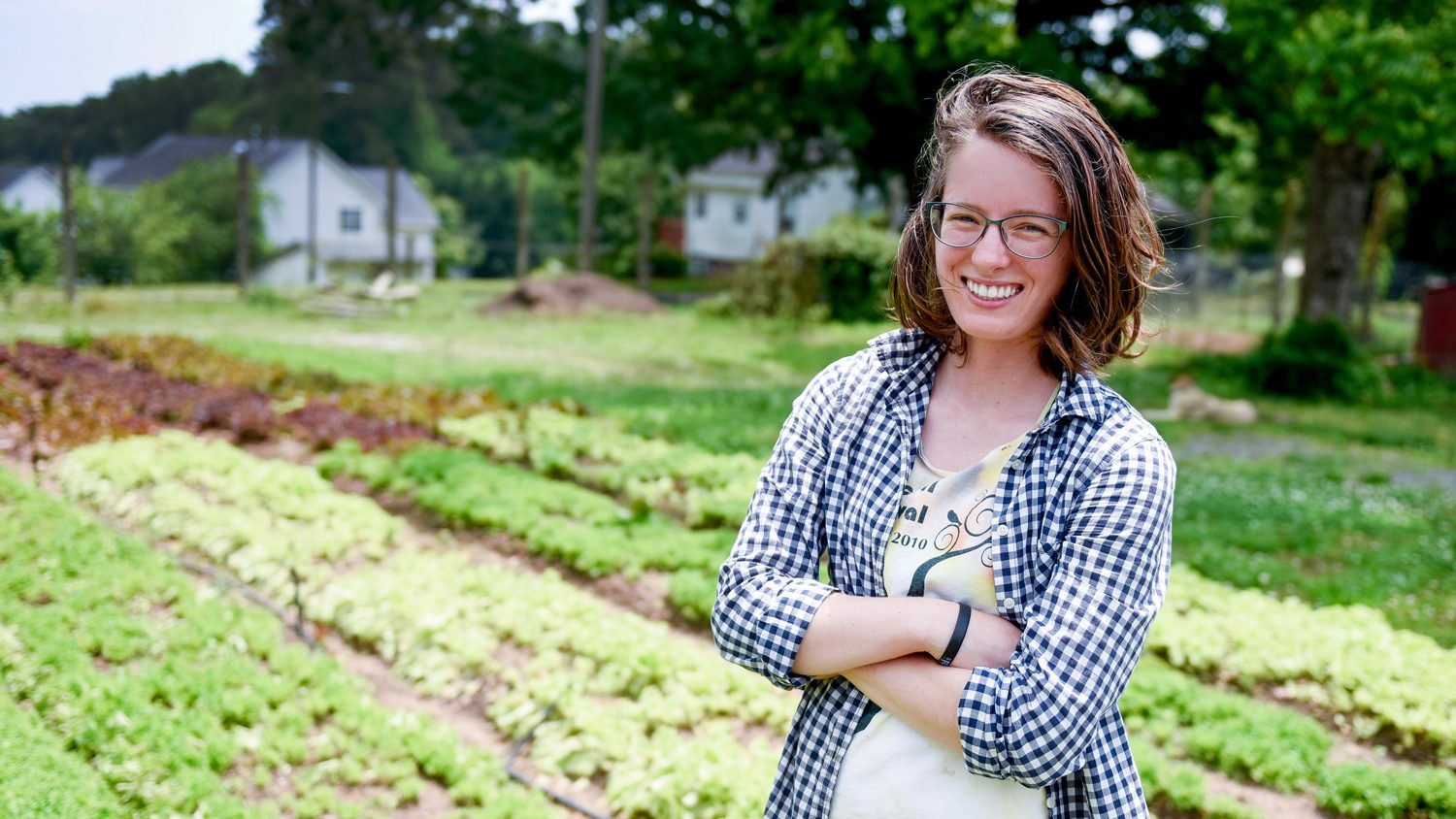 Student Morgan Malone on a farm.