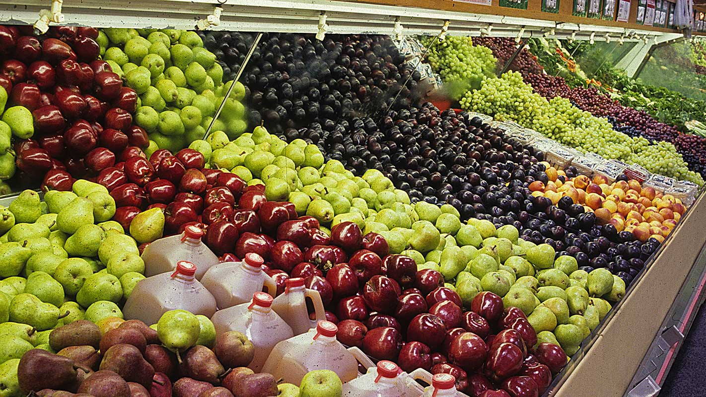 Fruits in the produce section of a grocery store.