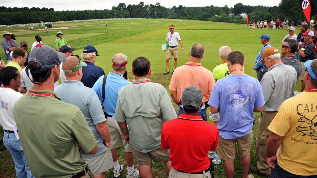 group listening to speaker at Turfgrass field day.