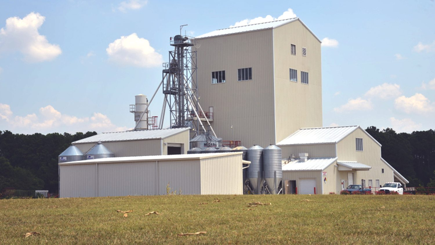 The NC State feed mill manufactures feed for all the animals at the Lake Wheeler Road Field Laboratory