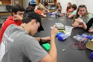 Coleman Berry in a lab with other students