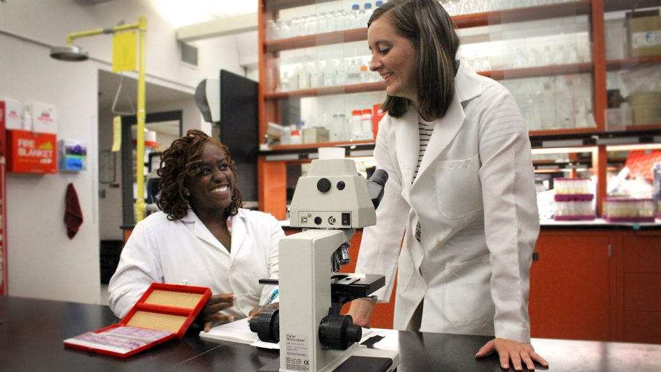 Marissa Herchler and Dannica Wall in a lab
