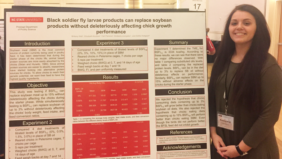 Brittany Wall standing next to her research poster