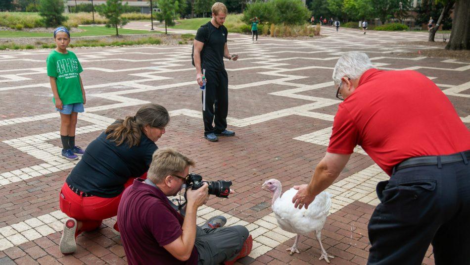 four people outside around a white turkey hen
