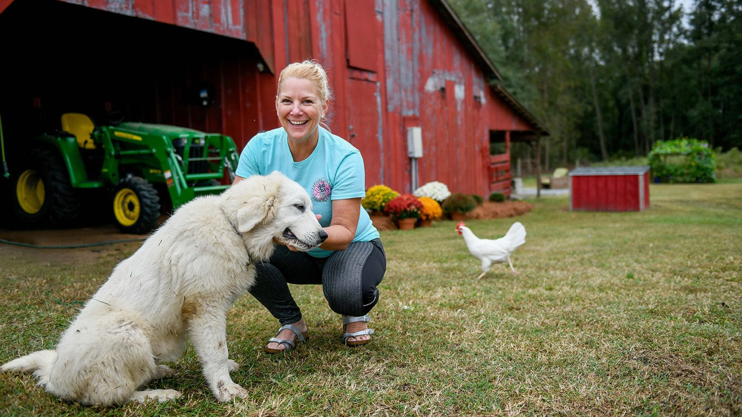 Woman smiling with her hand out to dog. In the background, a big red barn, tractor and chicken.