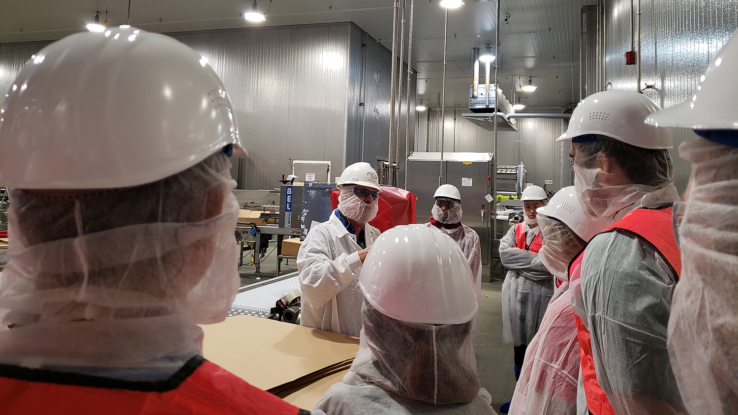 students in health and safety gear listen to a guide in a poultry processing plant