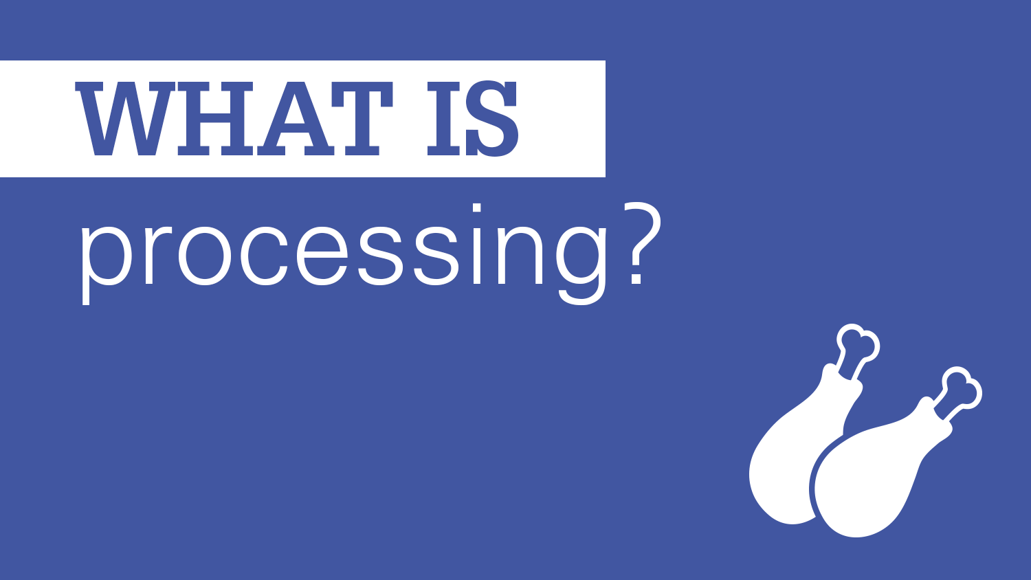 blue and white image showing the question 'what is processing' and an icon of drumsticks