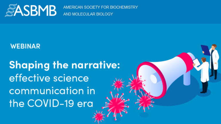 graphic announcement for the ASBMB Shaping the narrative webinar