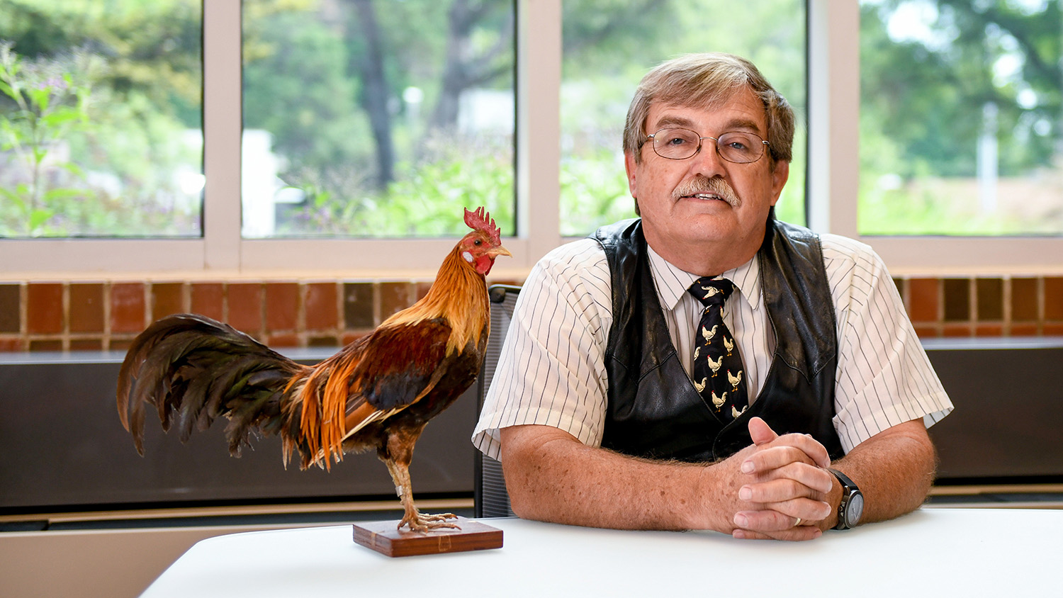Man seated next to a taxidermy rooster.