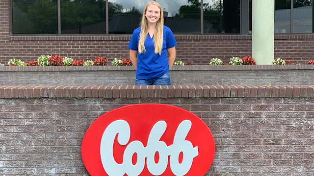 Sophie Chance behind the Cobb sign