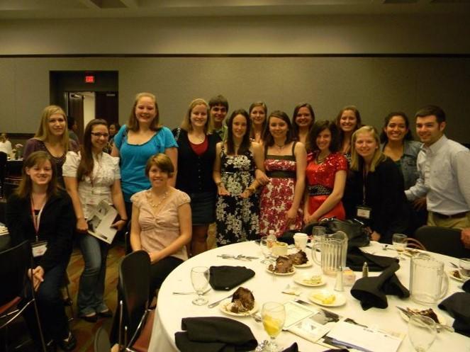 Students at conference awards banquet