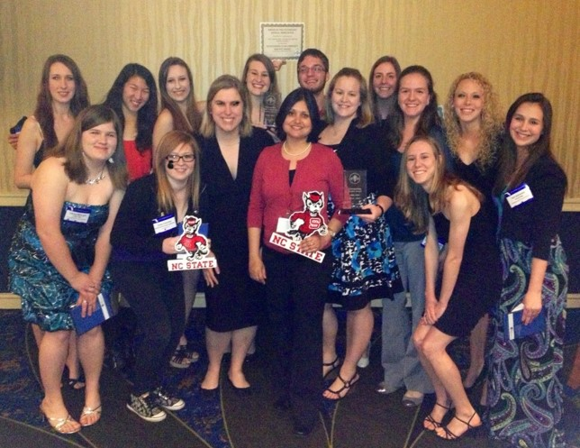 Group photo of pre-veterinary students at conference awards banquet
