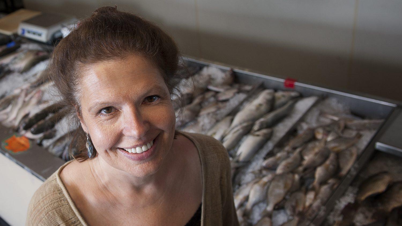 Dr. LeeAnn Jaykus at seafood market.