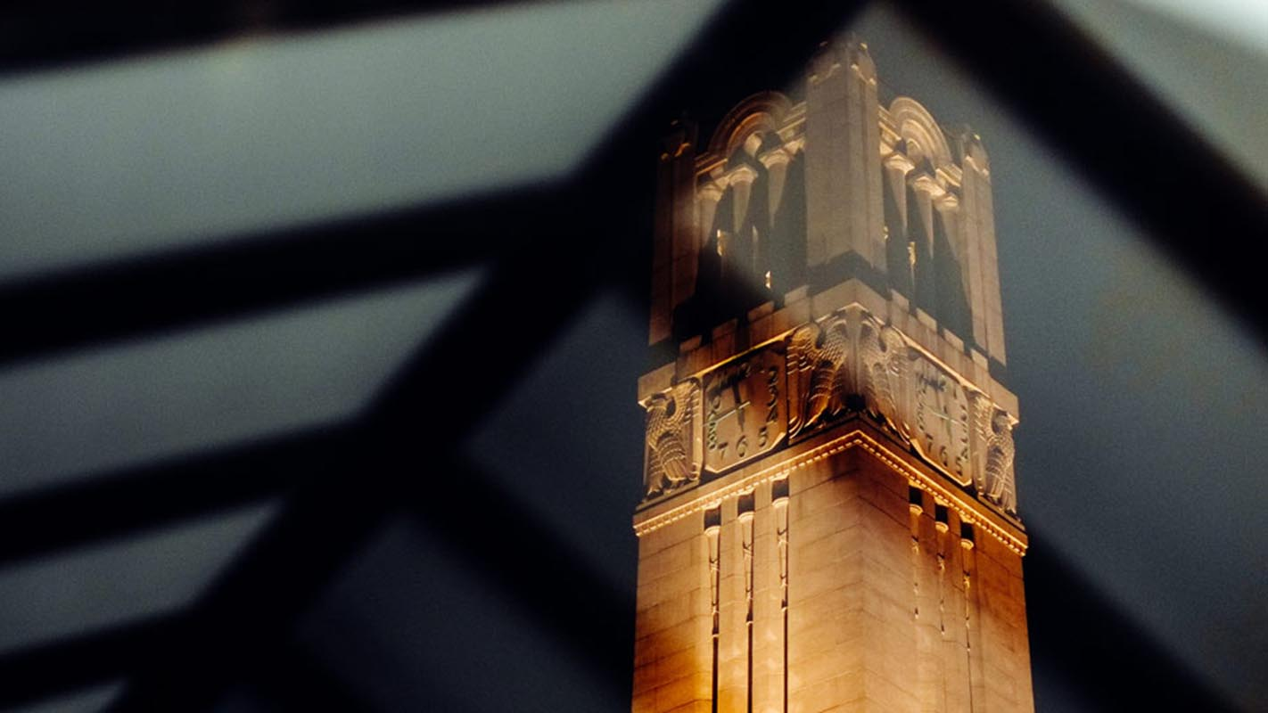 NC State Belltower through window