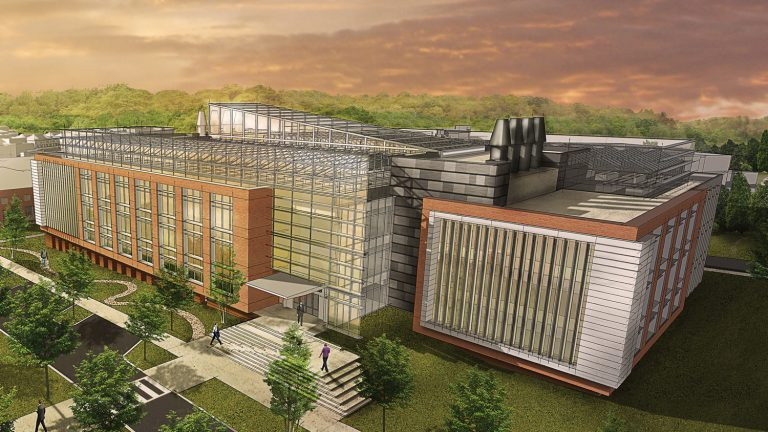 An artists rendering of the exterior of the proposed Plant Sciences research complex.