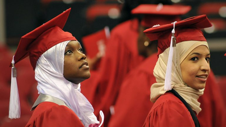 Diverse students at graduation