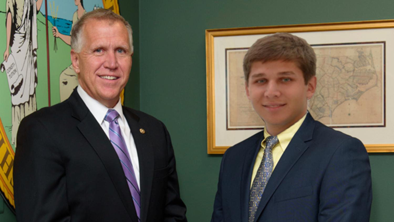 Sen. Thom Tillis and Ethan Holland