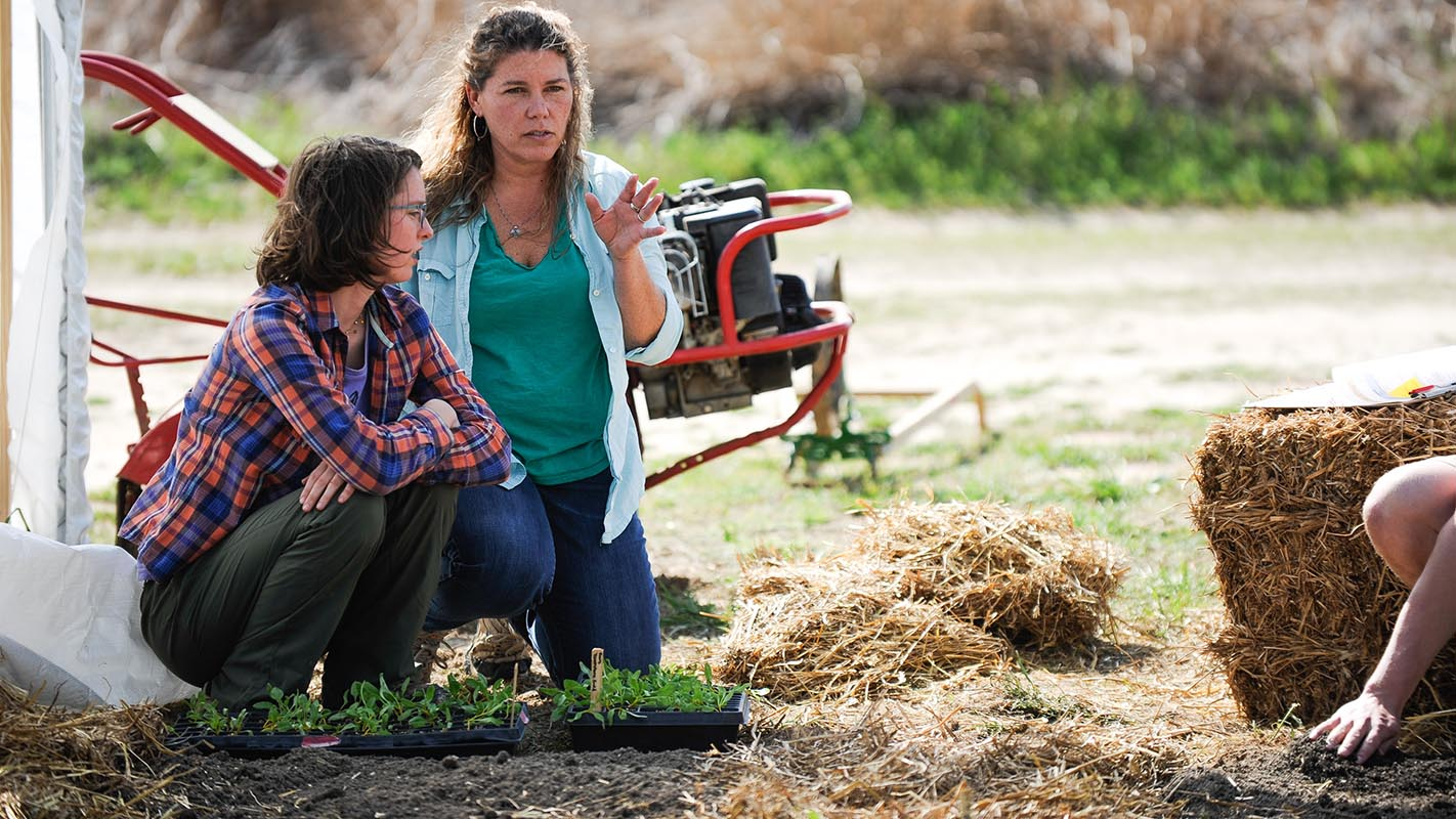 Two women discussing a plan for seedlings.