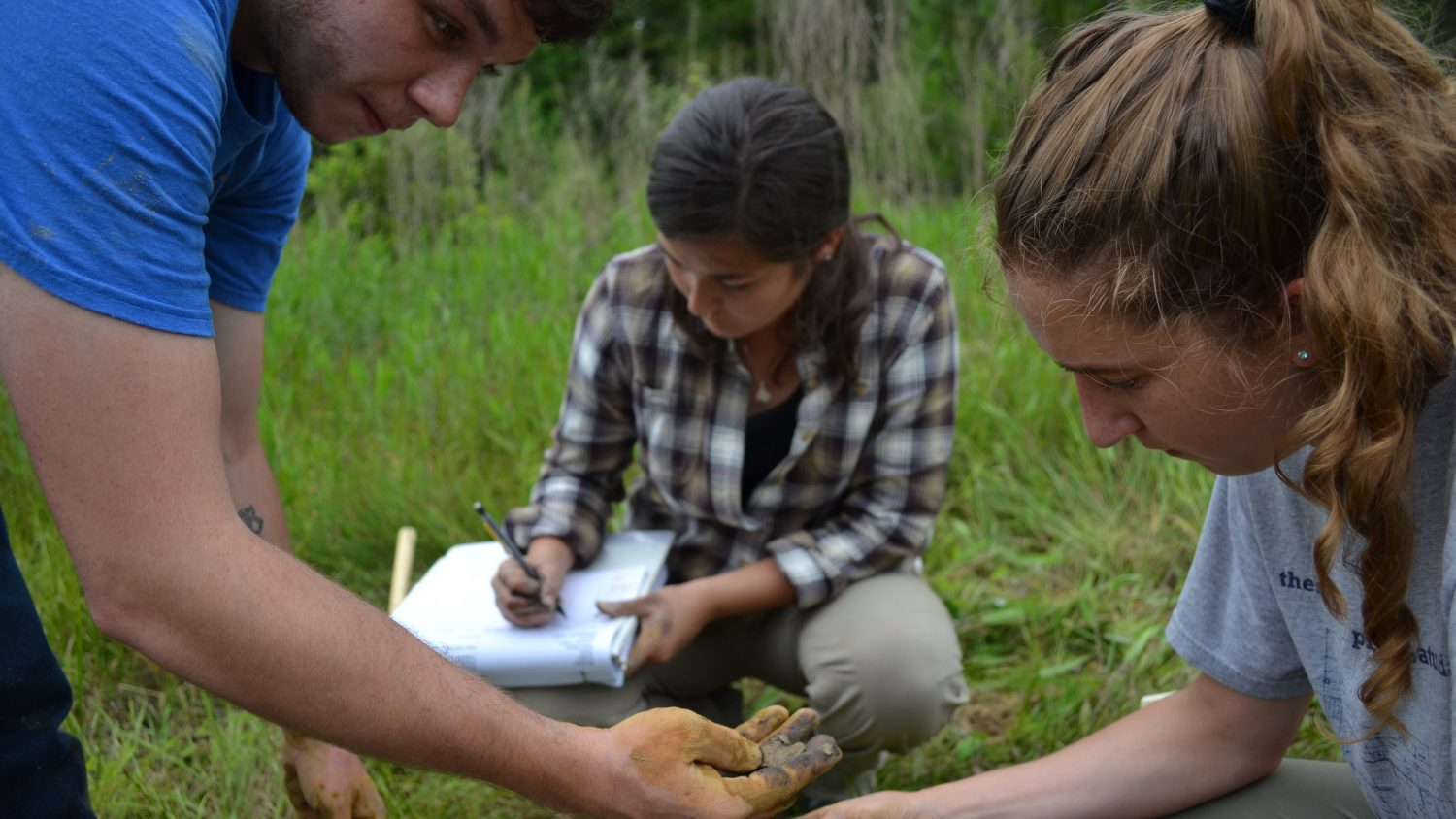 Three NC State College of Agriculture and Life Sciences students analyze soil in the field.