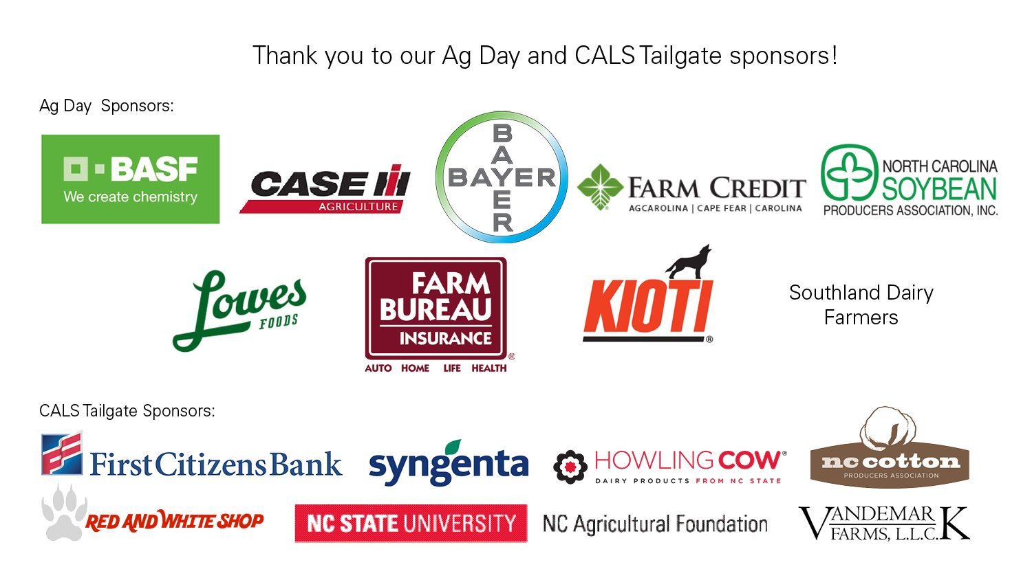 logos for the sponsors of the 2017 Ag Day and Tailgate on 9/9