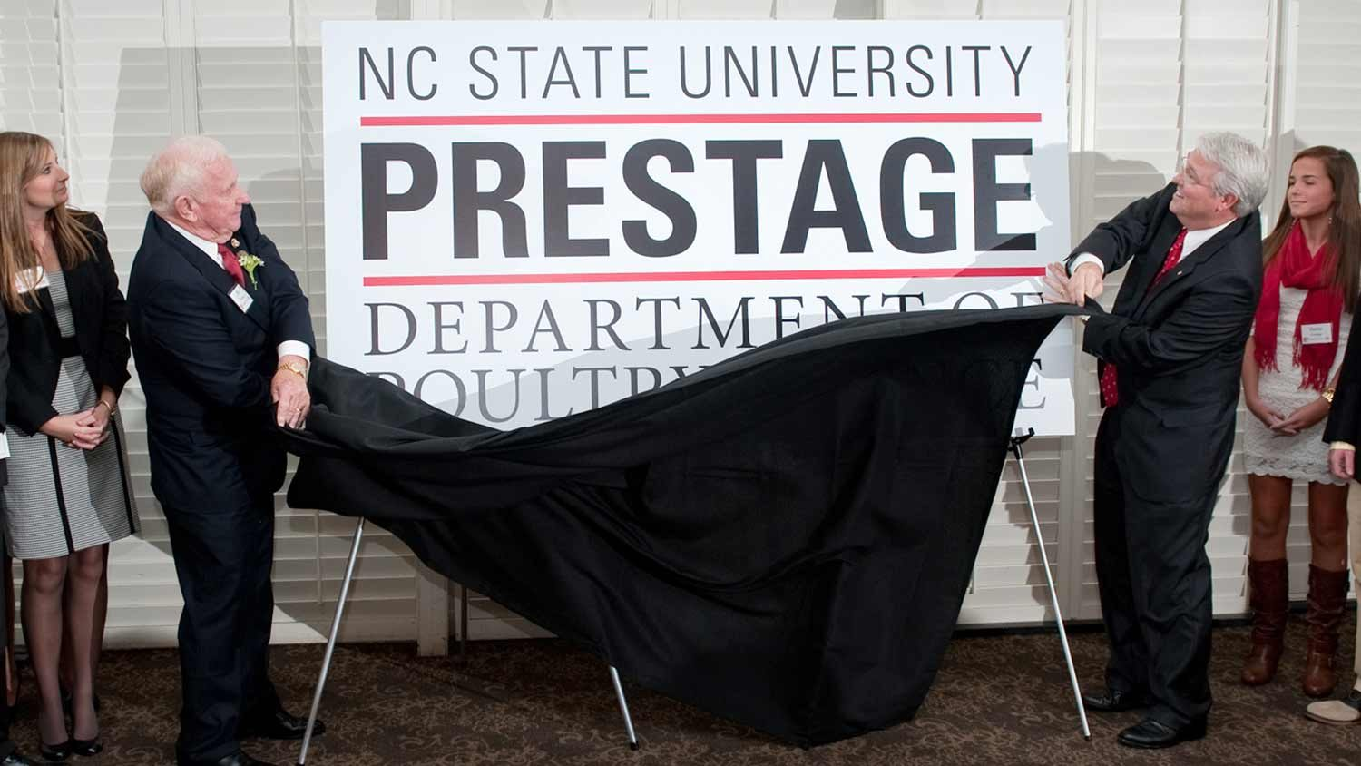 Unveiling the naming of the Prestage Family Dept of Poultry Science in 2012