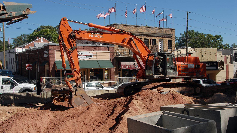 Construction work on Hillsborough Street