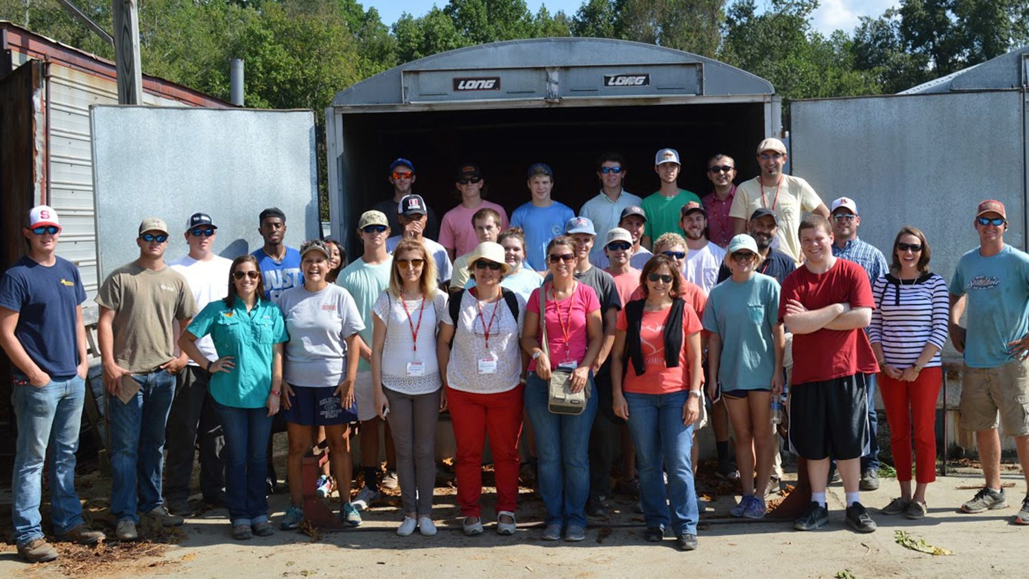 Students from NC State joined Turkish agriculturists touring Jerry and Deborah Pace's farm in Johnston County.