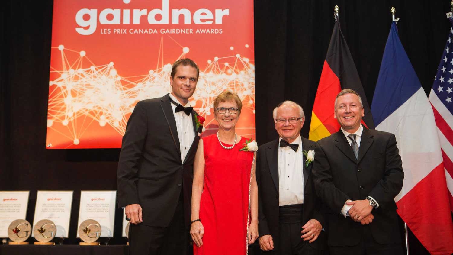Dr. Rodolphe Barrangou with Dr. Janet Rossantand, Gairdner president and scientific director; Dr. Lorne Tyrrell, chair of the Gairdnerboard of directors; and CALS Dean Richard Linton at the award ceremony in Toronto.