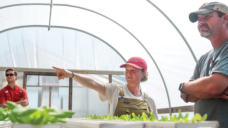 NC Farm School participants in a greenhouse.