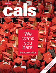Cover of CALS Magazine Fall 2016 - The Access Issue. Photo of graduation ceremony.
