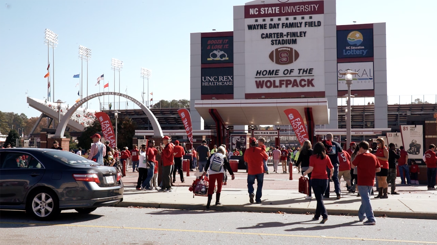Wolfpack fans at tailgating event